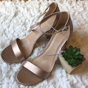 Rose gold block heels with open toe